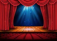 En teateretapp med en röd gardin och ett strålkastare- och trägolv Affisch för festivalnattshow vektor royaltyfri illustrationer