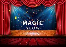 En teateretapp med en röd gardin och ett strålkastare- och trägolv Magisk showaffisch vektor royaltyfri illustrationer