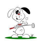 En tecknad filmhund som spelar golf stock illustrationer