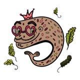 En tecknad filmillustration av en fisk med exponeringsglas i form av hjärta Fisk med en krona på hans huvud Fisken simmar bland h royaltyfri illustrationer