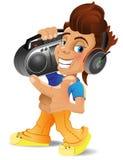 En tecknad filmpojke med boombox Royaltyfri Fotografi