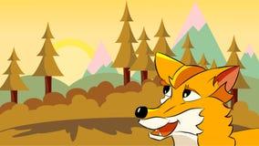 En tecknad filmräv som ser över landskapet Arkivbilder
