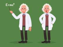 En tecknad filmstående av Albert Einstein stock illustrationer