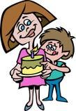 En tecknad filmstil av en moder och hennes son med en kaka royaltyfri bild