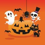 En tecknad filmvektorillustration av den retro spökade halloween platsen med pumpa för stålarnolla-lykta, den spöklika spöken och stock illustrationer