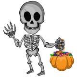 En tecknad filmvektorillustration av ett lycklig skelett- gående trick eller fest för halloween vektor illustrationer