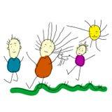 En teckning för barn` s Familj som går i solig dag Vektorillustrat Royaltyfri Foto