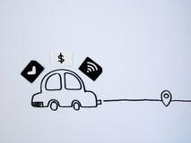 En teckningsbil och ett litet papper som simuleras som ett SIM-kort Dollar w Royaltyfria Foton