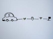 En teckningsbil och ett litet papper som simuleras som ett SIM-kort Dollar w Arkivbild