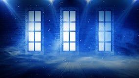 En tegelstenvägg i ett tomt rum, stora träfönster, ett magiskt ljus och strålarna av solen royaltyfri illustrationer