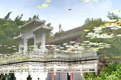 En tempel som täckas av en sjö Fotografering för Bildbyråer
