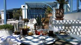 En terrass i Essaouria Arkivbilder