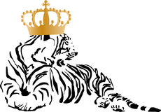 En tiger med en guld- krona stock illustrationer