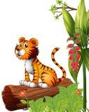 En tiger ovanför en stam royaltyfri illustrationer