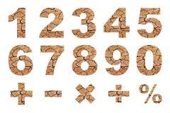 En till nollnummer och grundläggande matematiska symboler Arkivbild