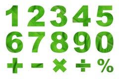 En till nollnummer och grundläggande matematiska symboler Arkivfoton
