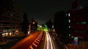 En timelapse av den i stadens centrum gatan på den Oume avenyn i bred skjuten lutande Tokyo för lång exponering stock video