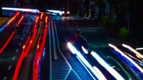 En timelapse av den i stadens centrum gatan på OUME-avenyn i panorera för Tokyo långt exponering stock video