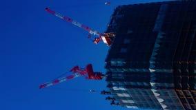 En timelapse av kranar på under-konstruktionen bak den blåa himlen i den Tokyo lodlinjen stock video