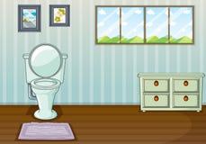 En toalettplats och en sidotabell royaltyfri illustrationer