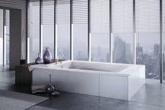 En tolkning 3D av bubbelpoolen med golvet till takfönster Royaltyfria Bilder