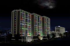 En tolkning 3D av det minimalist huset på natten Arkivfoto