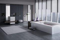 En tolkning 3D av det moderna badrummet med den enkla handfatet och bubbelpoolen Royaltyfria Bilder