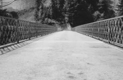 En tom bro över en brant ravin i de schweiziska fjällängarna - 2 arkivbild
