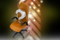 En tom stol med frågefläcken Arkivbilder