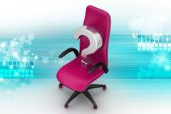 En tom stol med frågefläcken Royaltyfri Bild
