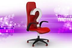 En tom stol med frågefläcken Arkivfoto