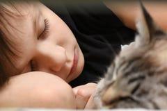 En tonåring sover på sängen med en djur katt arkivfoton