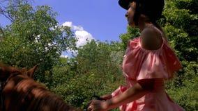 En tonårs- flicka i en skyddande hjälm och en rosa klänning rider en brun häst på en bakgrund av träd Slapp fokus 4K video 4K stock video