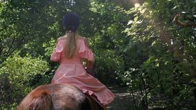 En tonårs- flicka i en skyddande hjälm och en rosa klänning rider en brun häst i en skog bland vegetationen tillbaka sikt 4K vide arkivfilmer