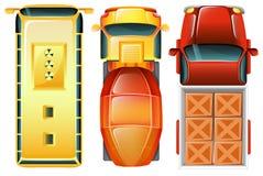 En topview av bilarna på parkeringsområdet Royaltyfria Foton