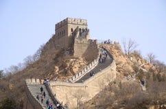 En torntoppmöte längs den stora väggen av Kina Arkivbild
