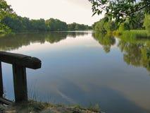 En träbro över en flod, på bankerna av som väx grunda pilar och vasser Ett underbart ställe och en solig dag Royaltyfria Foton