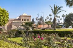En trädgård i Marrakech, Marocko Fotografering för Bildbyråer