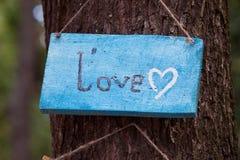 En träplatta med ordet - förälskelse arkivbild