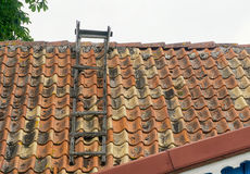 En trästege på ett gammalt tak Royaltyfria Bilder
