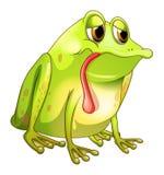 En trött grön groda stock illustrationer