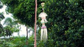 En traditionell strawy garnering av Balinesehinduism som vinkar i vind med palmträd i bakgrunden lager videofilmer