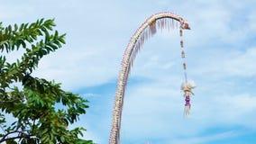 En traditionell strawy garnering av Balinesehinduism som vinkar i vind med palmtr?d i bakgrunden stock video