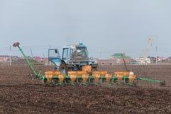 En traktor med en seeder sår vete Arkivfoton
