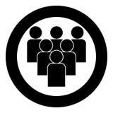 En travaillant ensemble l'icône de concept d'équipe noircissez la couleur en cercle illustration libre de droits