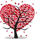 En tree full av hjärtor stock illustrationer