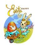 En trendig kanin rullar en tappningvagn royaltyfri illustrationer