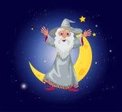 En trollkarl som svävar nära månen Royaltyfri Fotografi