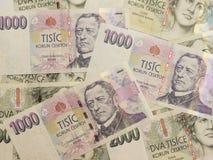 1000 en 2000 Tsjechische kroonbankbiljetten Stock Foto