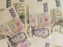 1000 en 2000 Tsjechische kroonbankbiljetten Royalty-vrije Stock Foto's